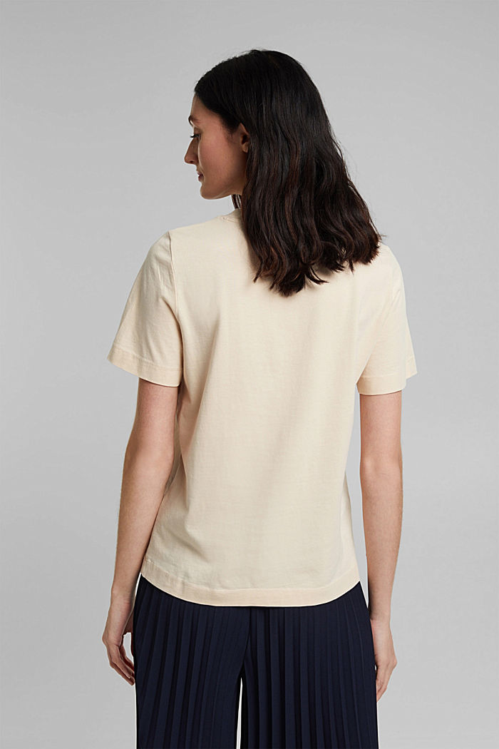 Basic T-shirt in 100% organic cotton, CREAM BEIGE, detail image number 3