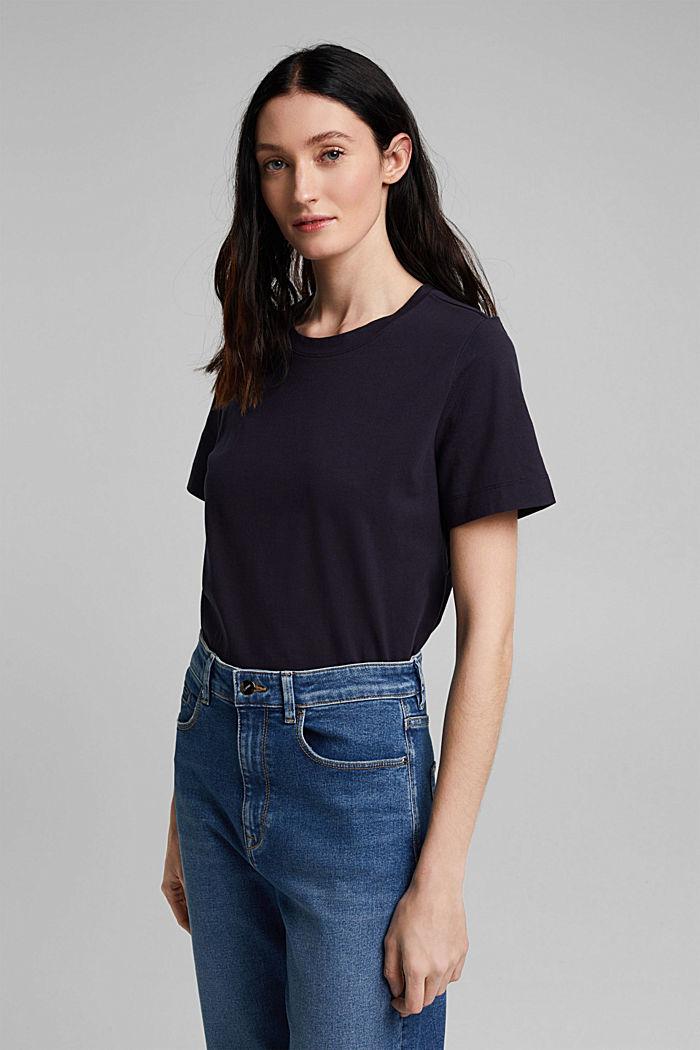 Basic T-shirt in 100% organic cotton, NAVY, detail image number 0