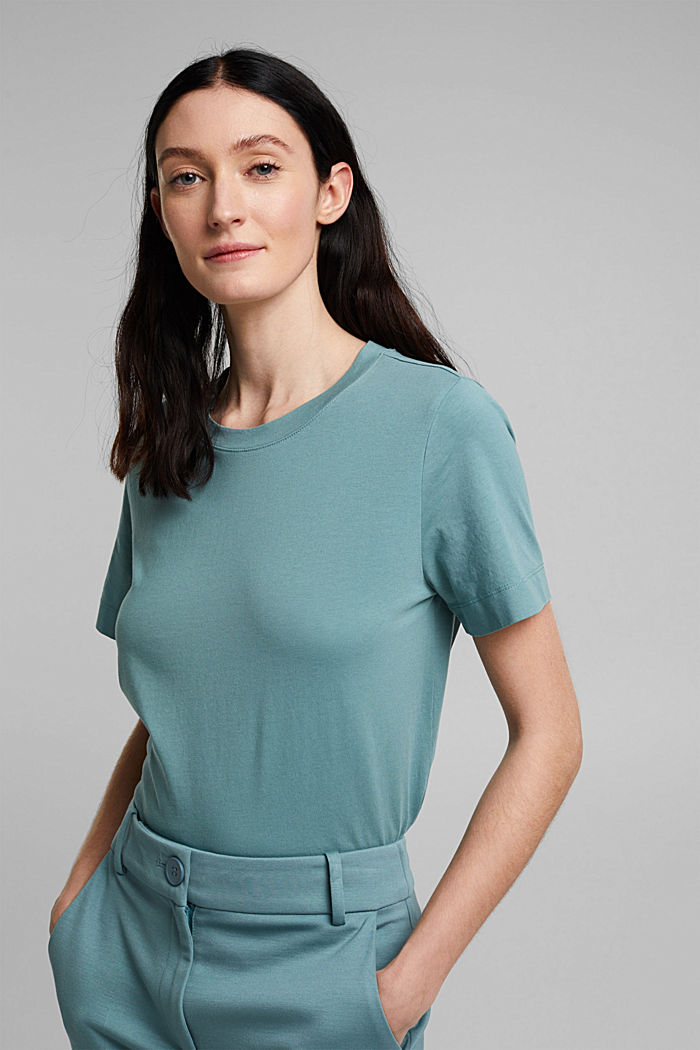 Basic-Shirt aus 100% Organic Cotton, DARK TURQUOISE, overview