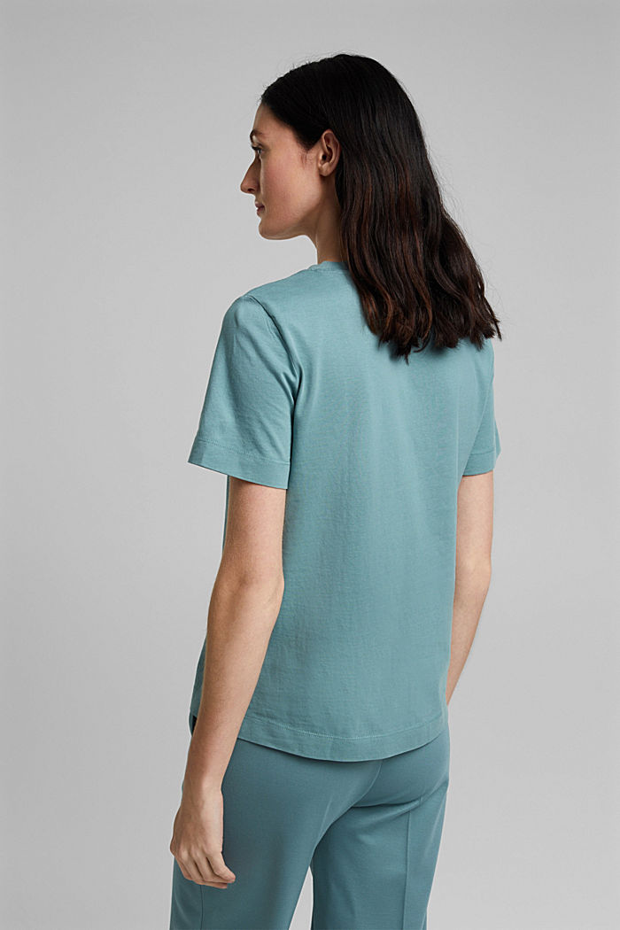 Basic-Shirt aus 100% Organic Cotton, DARK TURQUOISE, detail image number 3