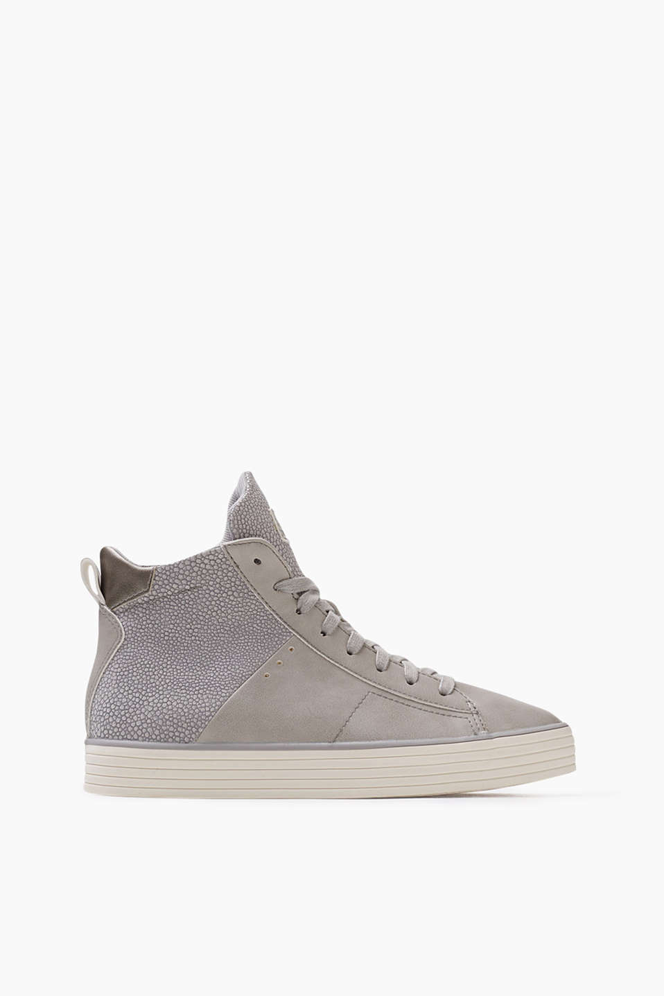 In a sporty, modern trainer style: High-top trainers in smooth imitation leather and a reptile look, with a practical inside zip