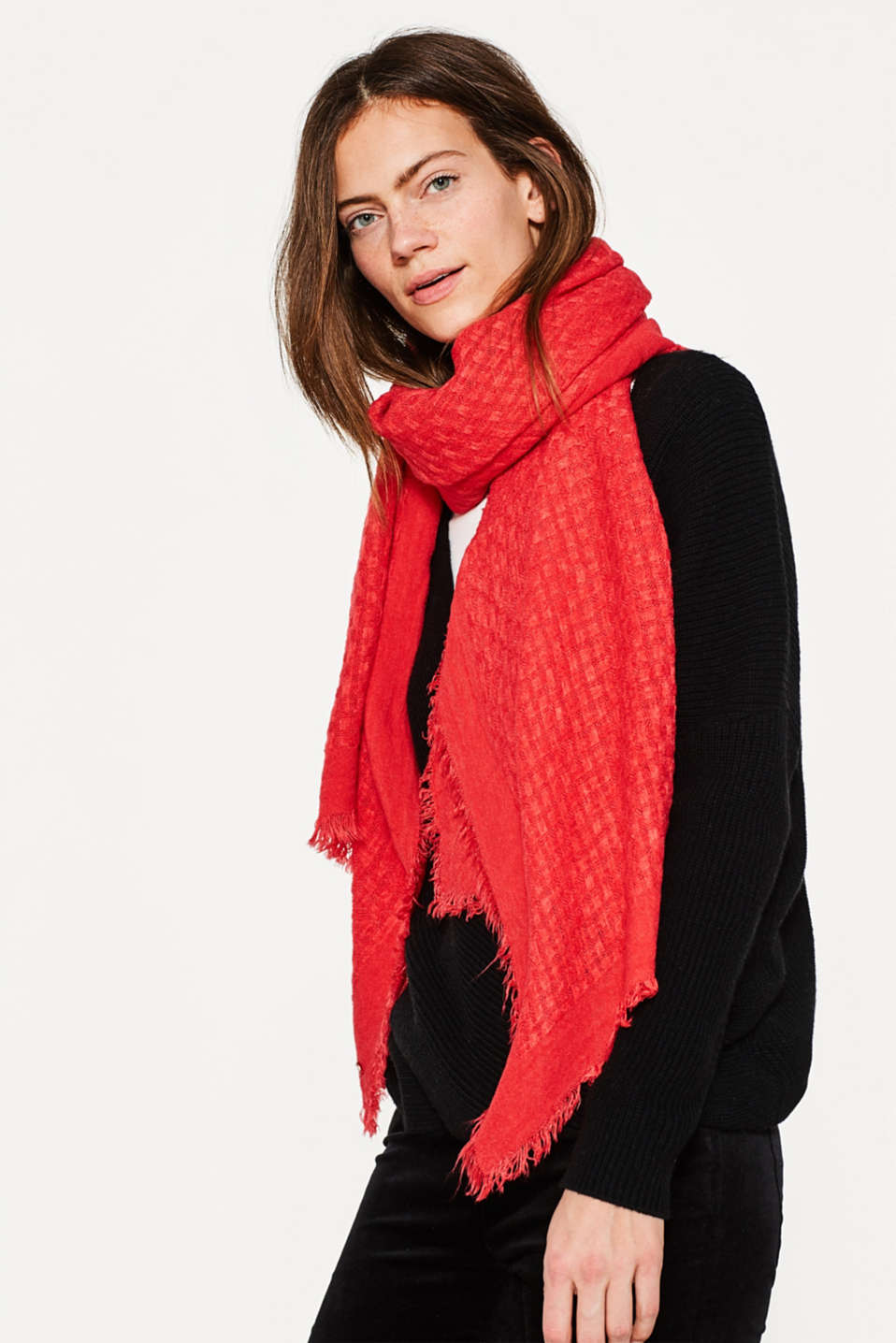 Soft textured woven scarf
