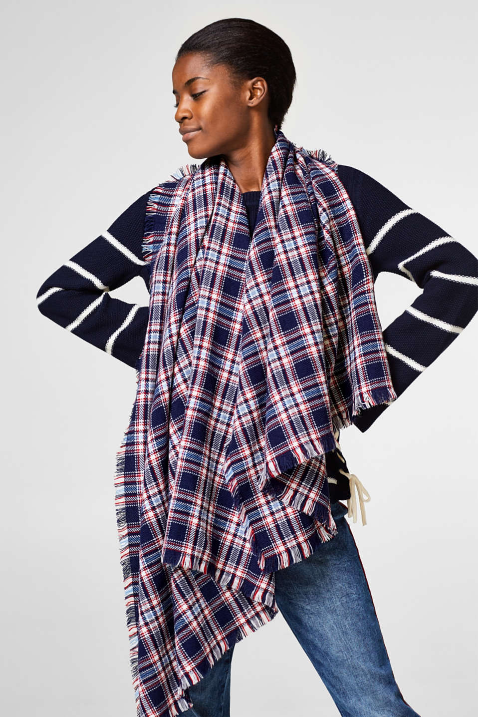 Classic check stole/scarf
