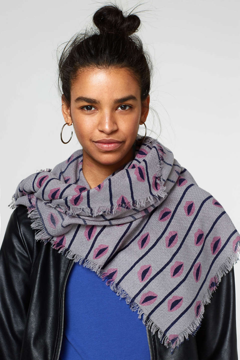 Scarf with lip print