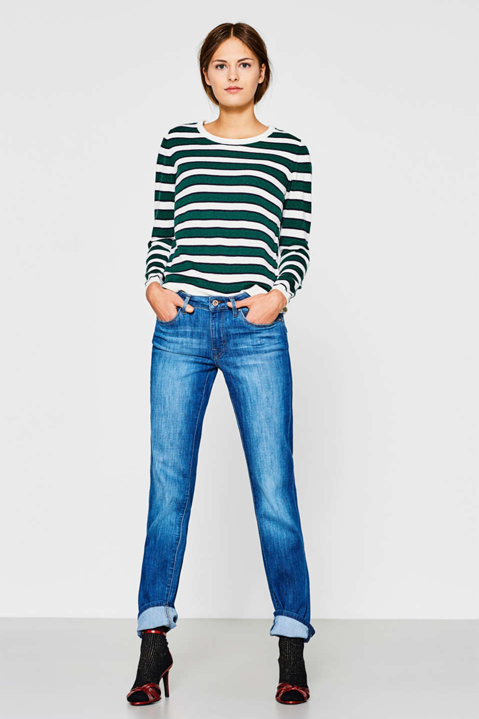 Stretch jeans with flap pockets