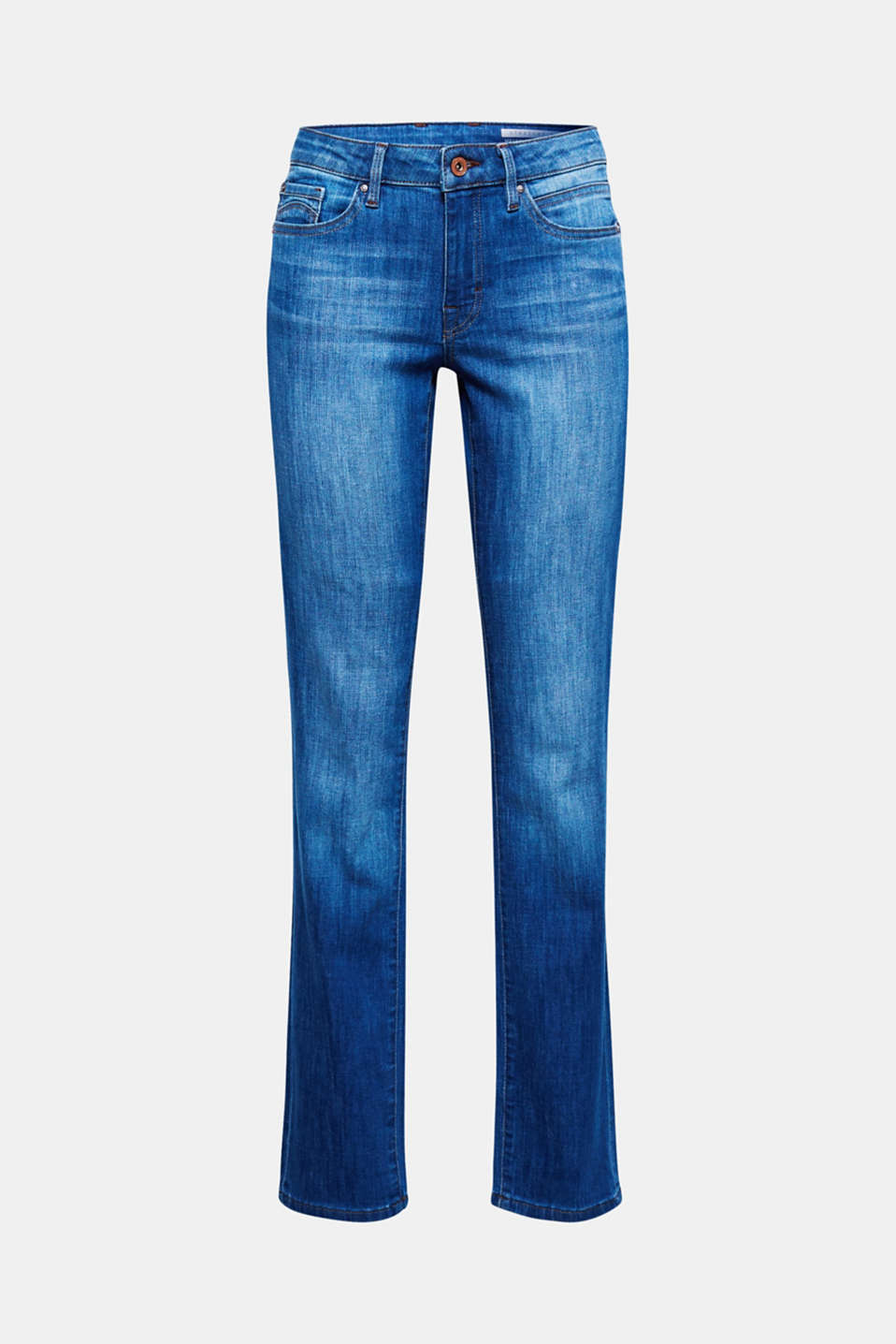These casual, garment-washed stretch jeans with flap pockets on the seat is a cool basic piece.