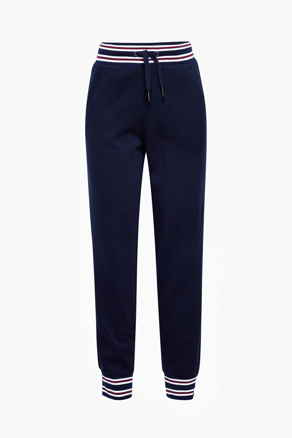 These tracksuit bottoms in blended cotton with striped borders are incredibly comfortable and have a sporty style!