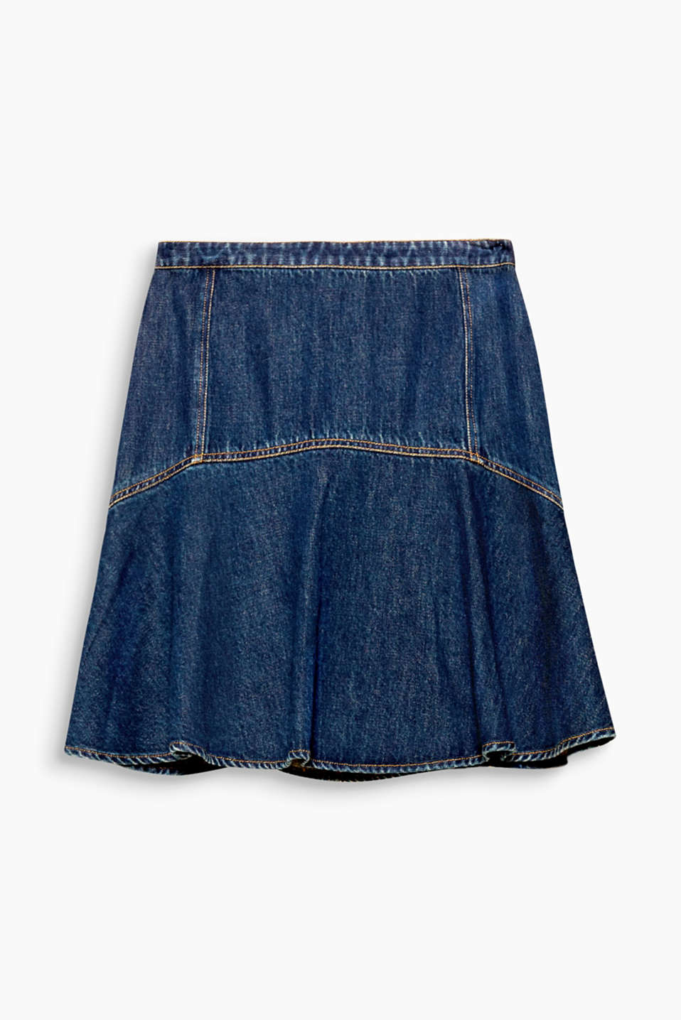 The swirling, flared design of this denim skirt introduces a playful hint of femininity.