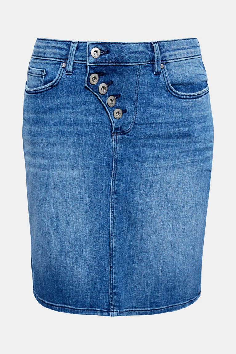 Stretch-Jeans-Rock mit Knopfleiste