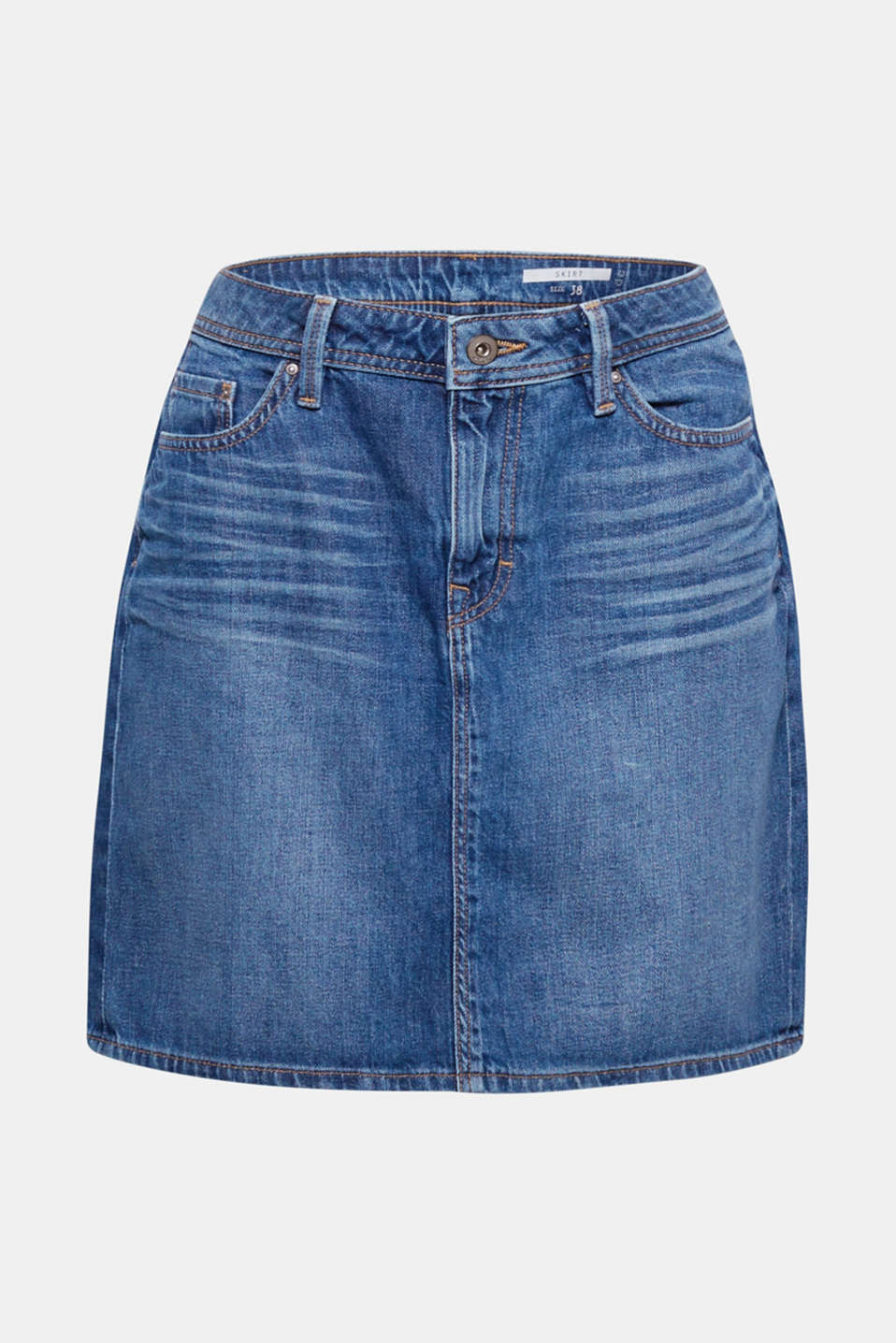 Our favourite style for lots of looks: denim skirt in pure cotton with casual washed-out effects.