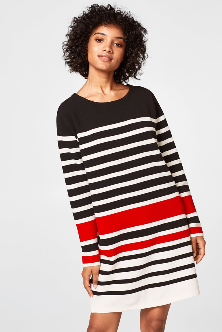 Gestreiftes Ripp-Sweat-Kleid