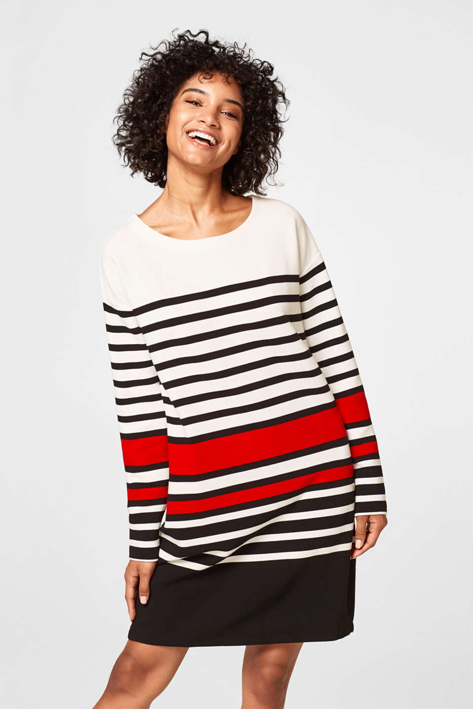 edc - Striped ribbed sweatshirt dress