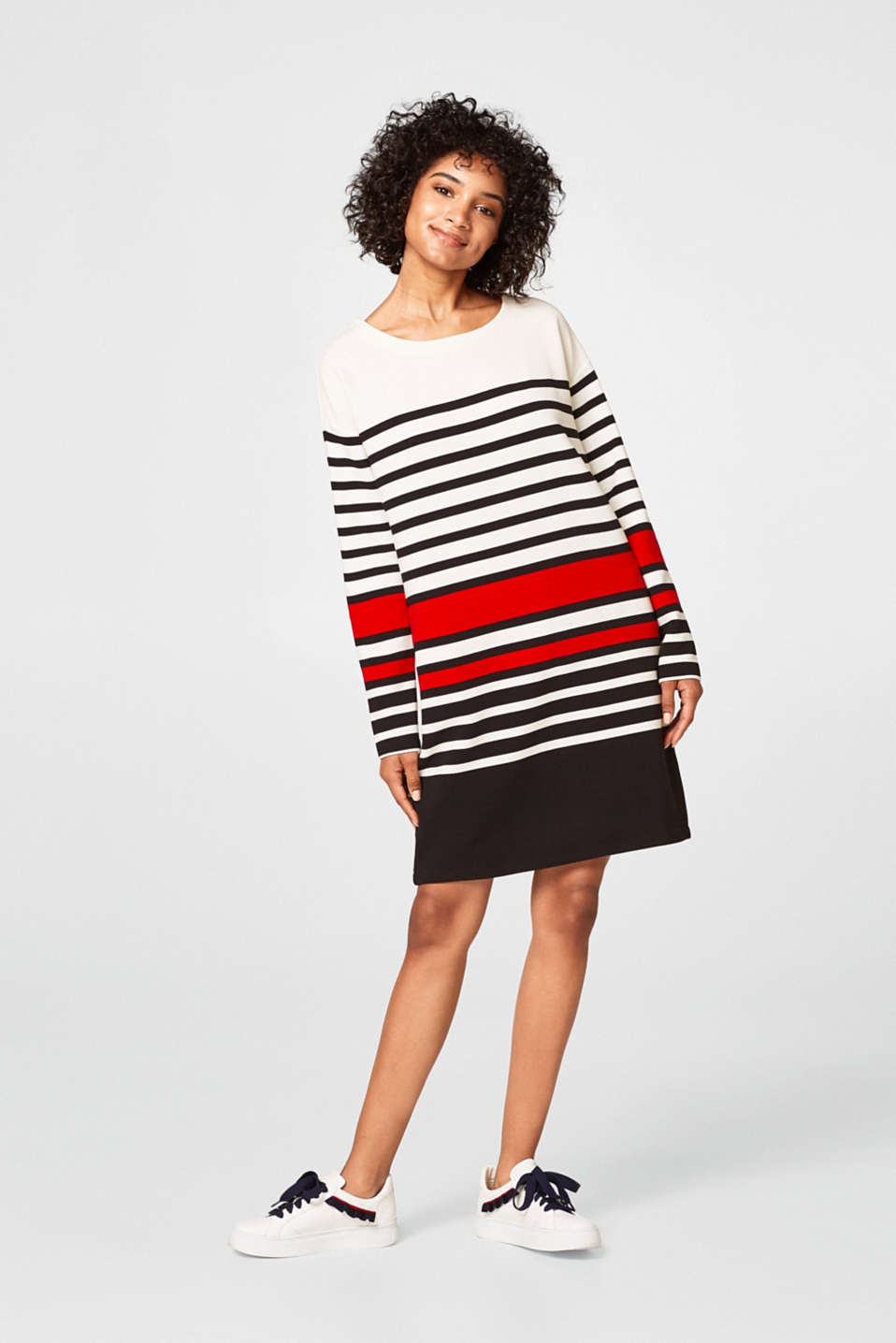 Striped ribbed sweatshirt dress