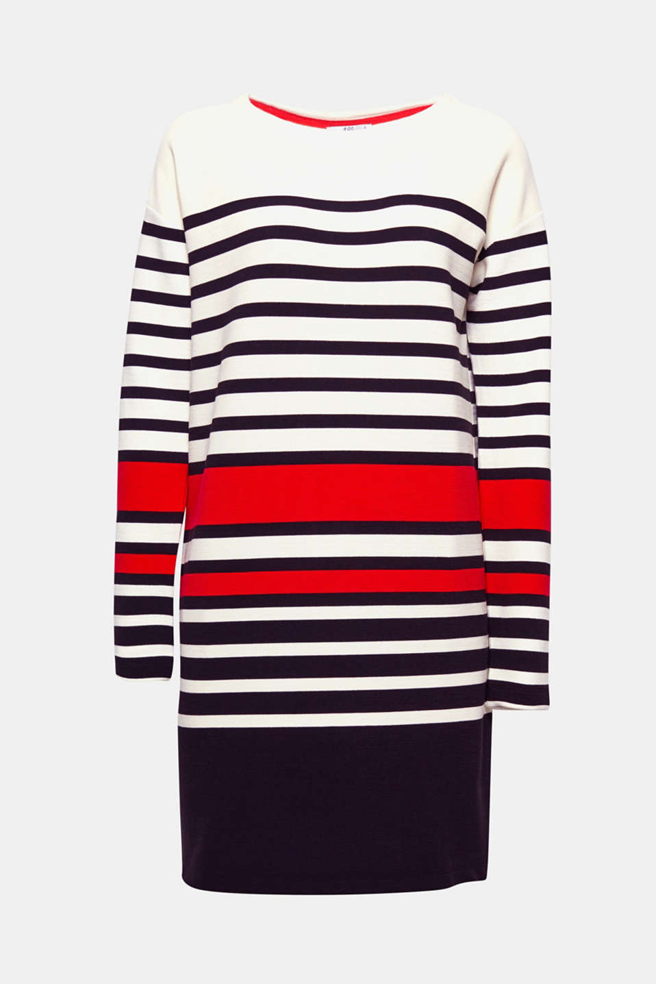 This graphically striped and finely ribbed sweatshirt dress in a trendy, oversized cut is cool and fresh.