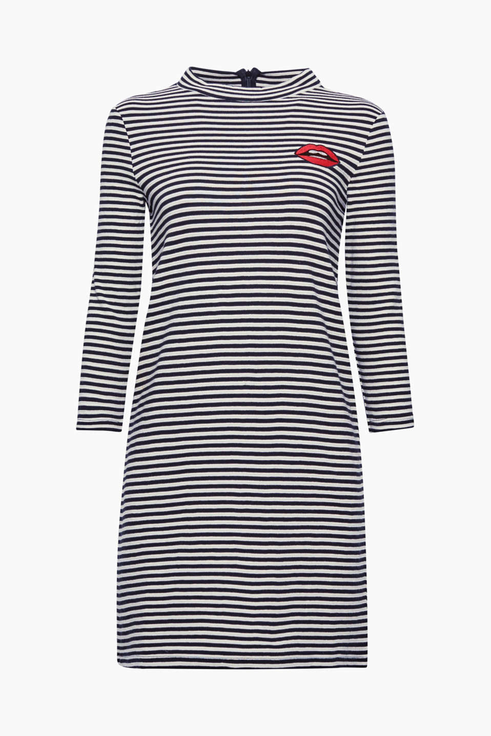 Here comes your feel-good style: a flared dress in soft jersey with stripes, ribs and appliqué!