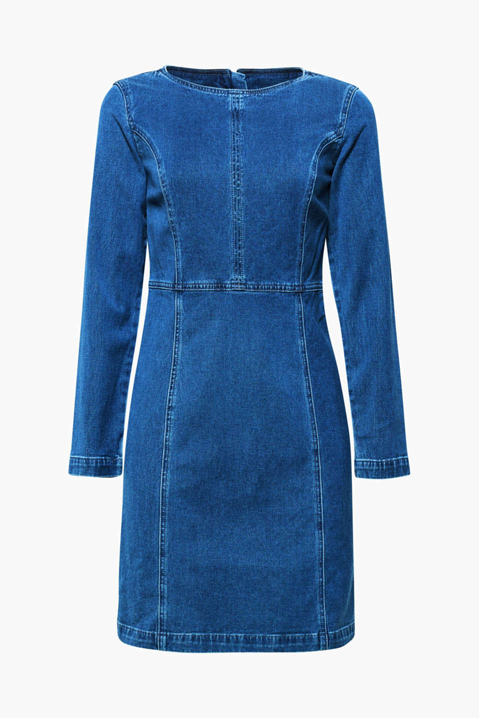 This denim dress in washed stretch denim creates a casually feminine look.