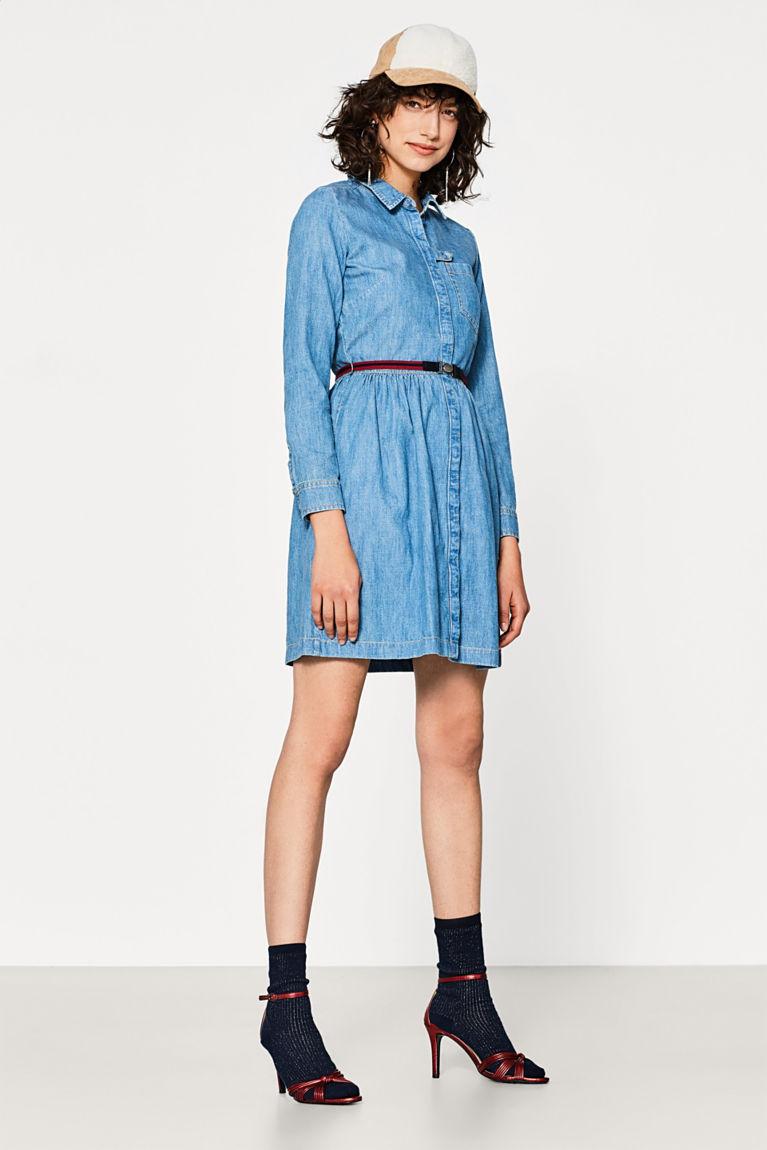 Baumwoll-Jeans-Kleid mit Gürtel