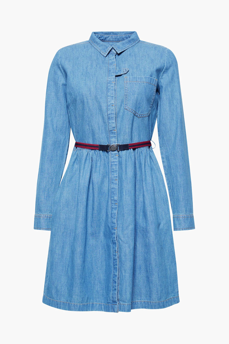 This flared A-line dress in pure cotton denim is casual and feminine at the same time.
