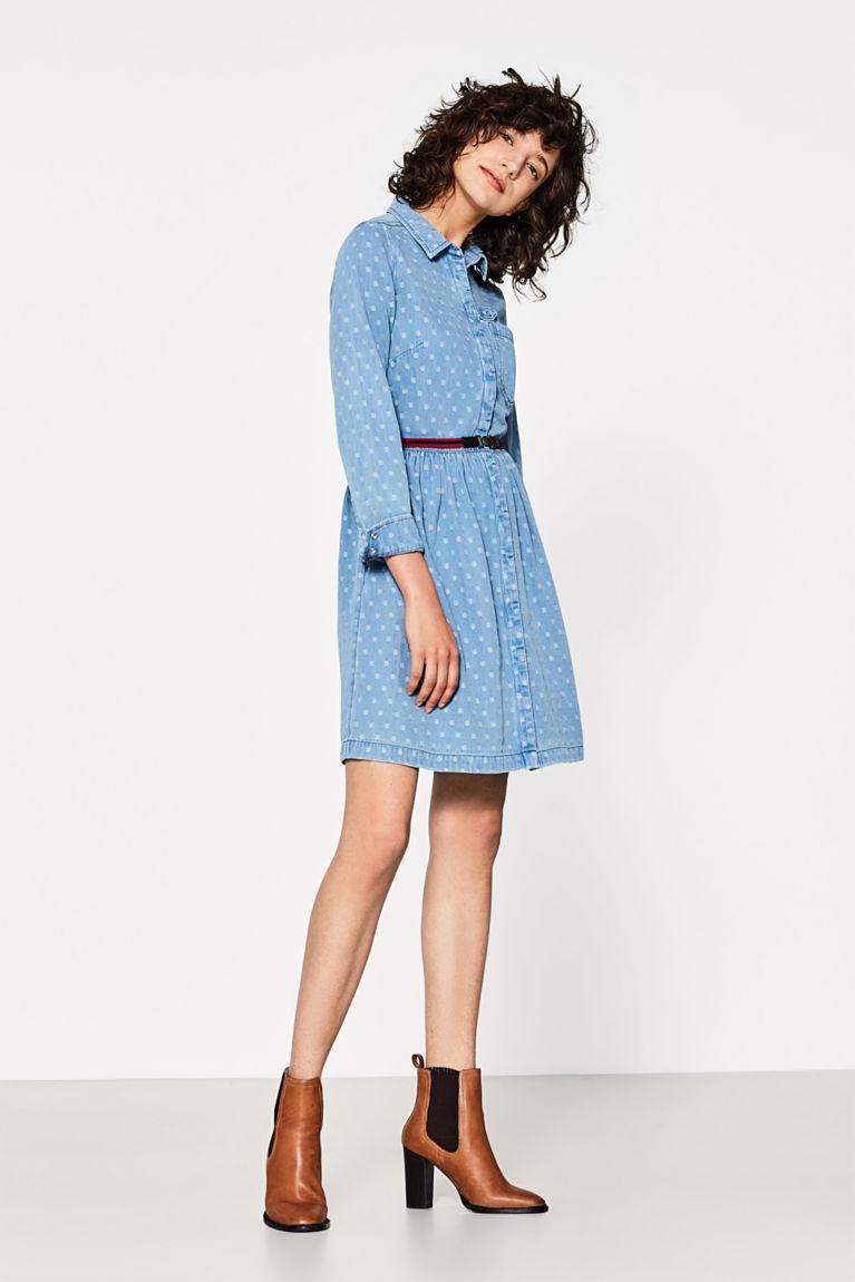 Getupftes Baumwoll-Jeans-Kleid