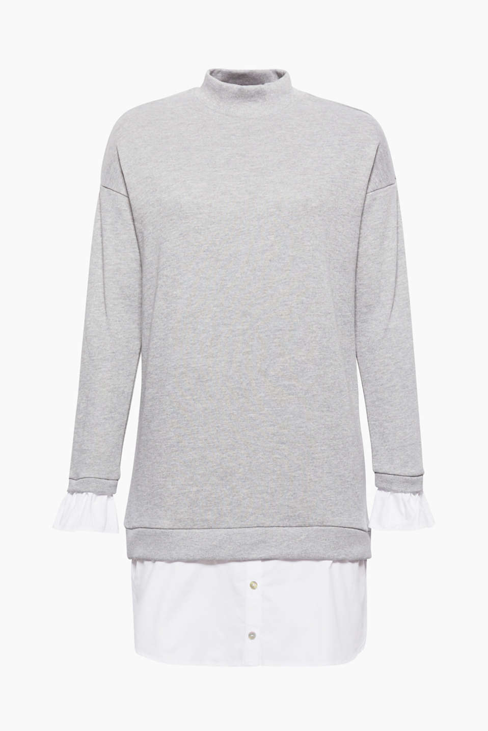 We love layering! The trims on the hem and sleeve ends make this oversized sweatshirt into a cool dress.