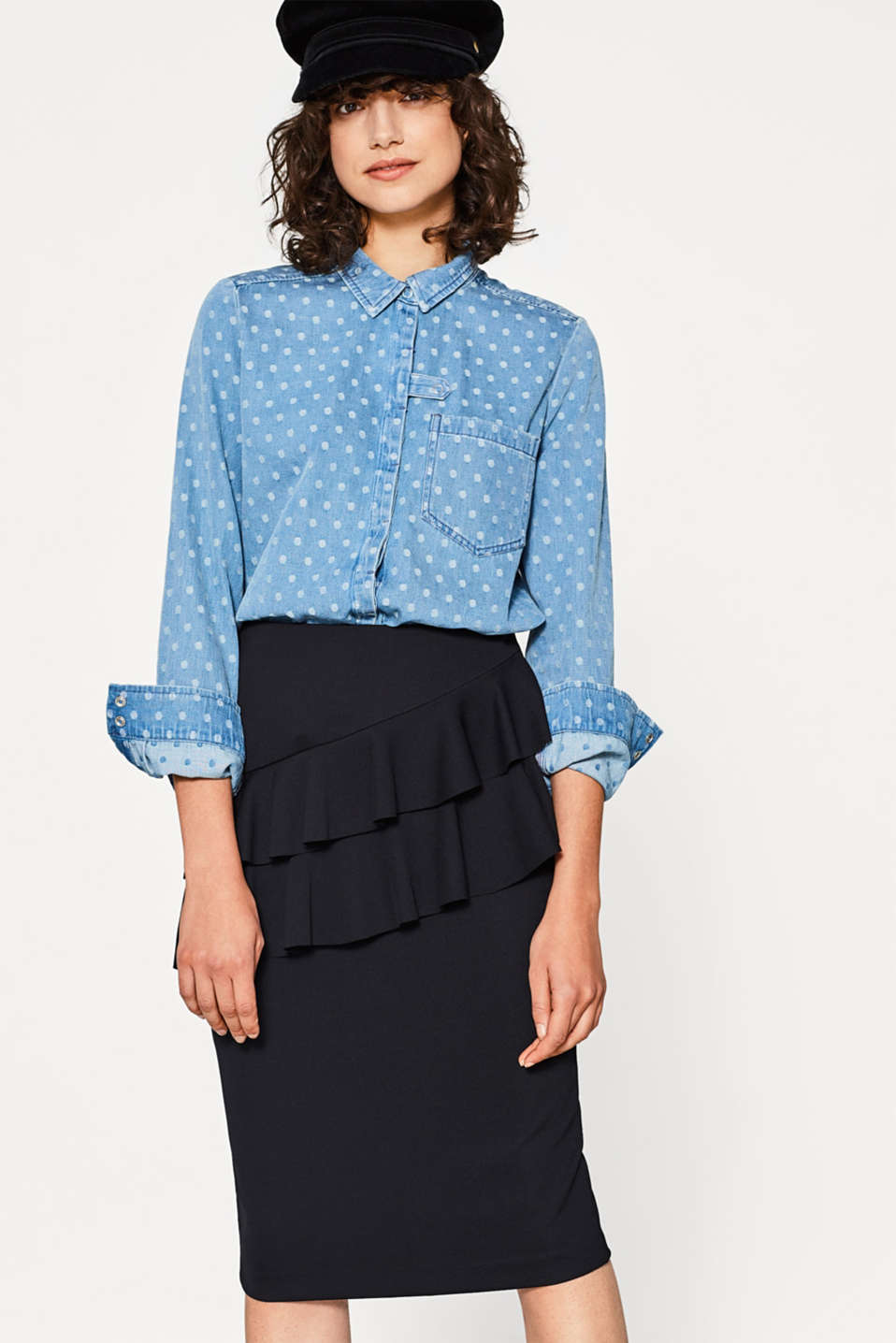 edc - Blusa in jeans a pois, cotone
