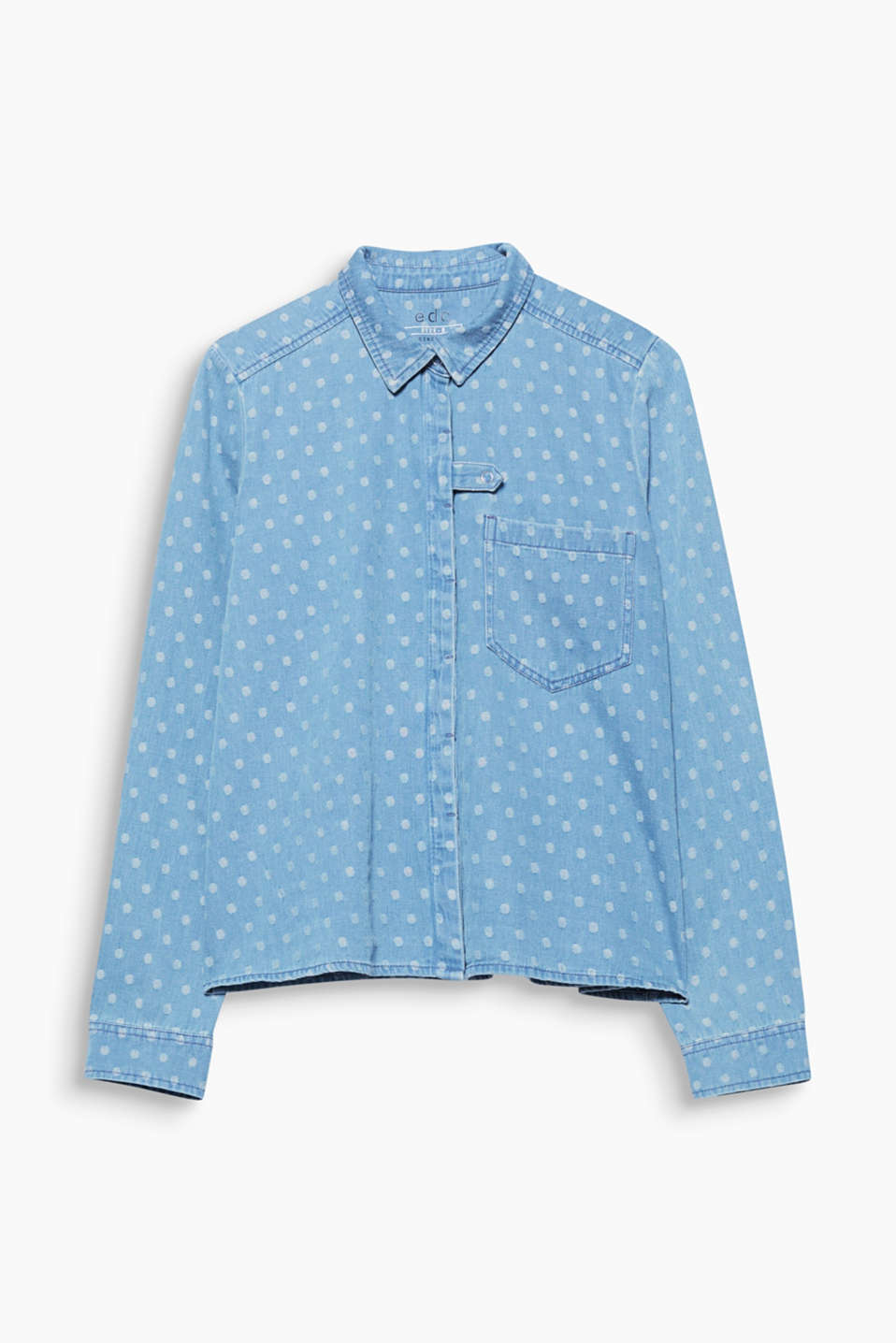 This blouse in a light garment wash cotton denim enchants with a charming woven polka dot pattern.