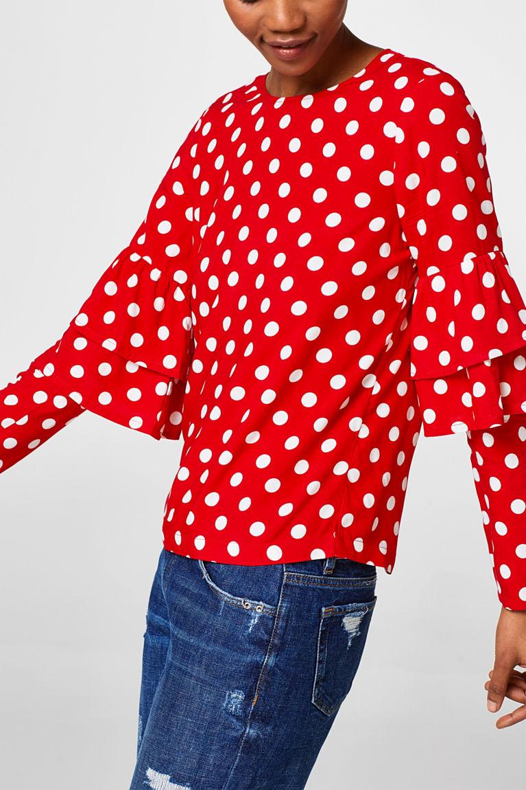 Boxy Polka-Dot-Bluse mit Volants