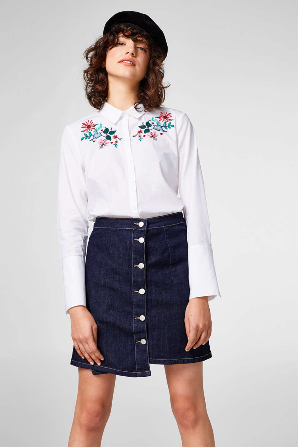 edc - Embroidered blouse, 100% cotton