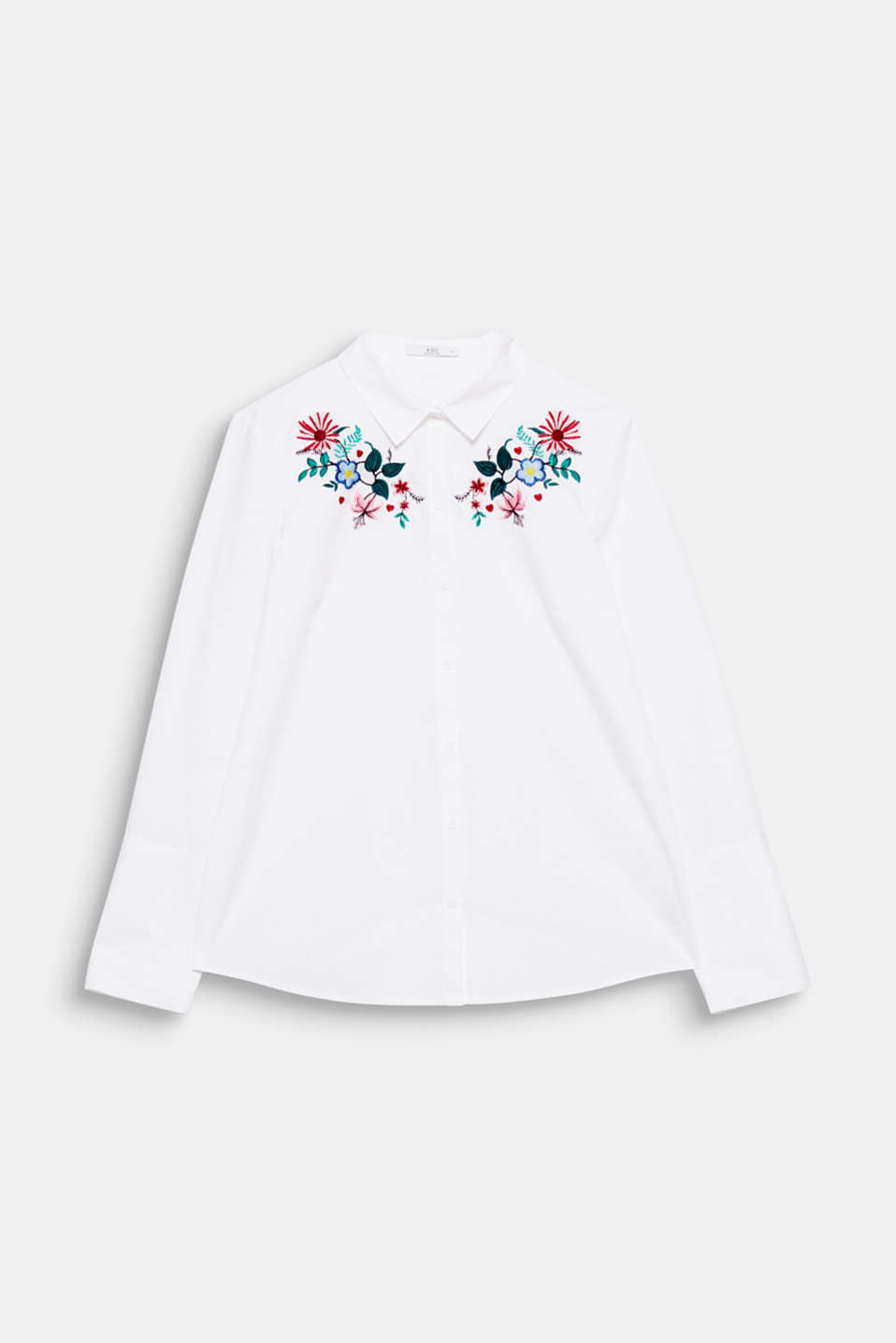 The floral, colourful embroidery makes this classic shirt blouse made of pure cotton a brand new must-have piece!