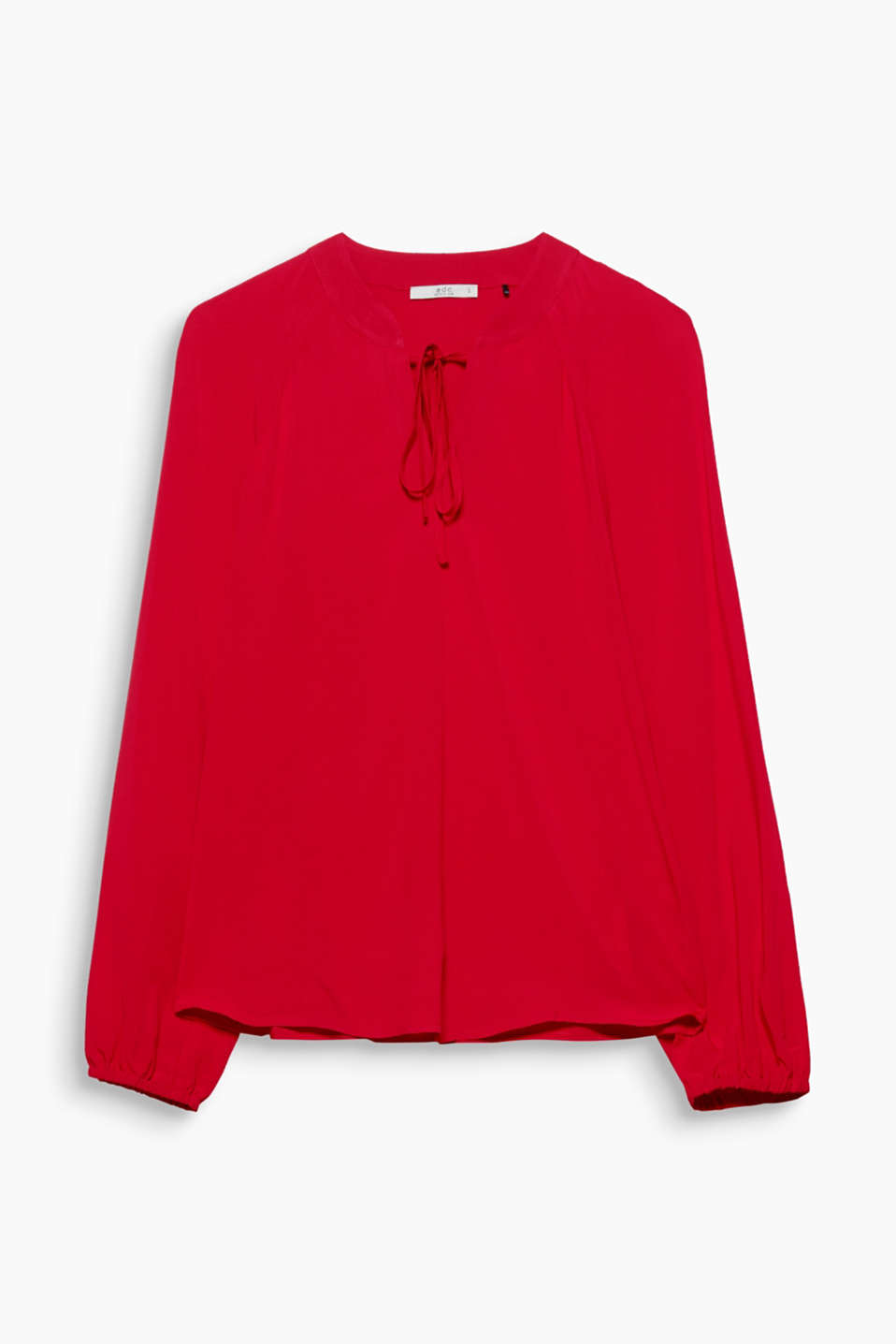 This softly flowing blouse with a laced neckline and loose, figure-skimming fit is an item for every occasion.