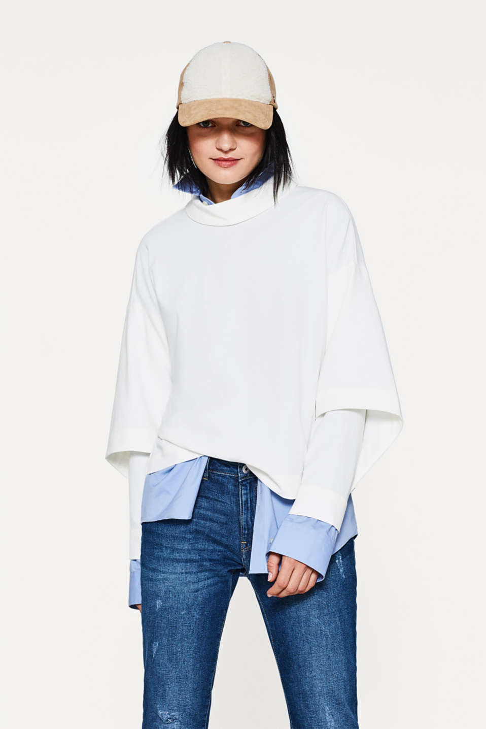edc - Oversized blouse + turn-down collar