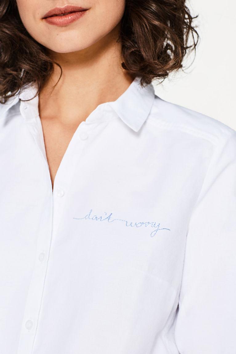 Baumwolle-Hemdbluse mit Stickerei