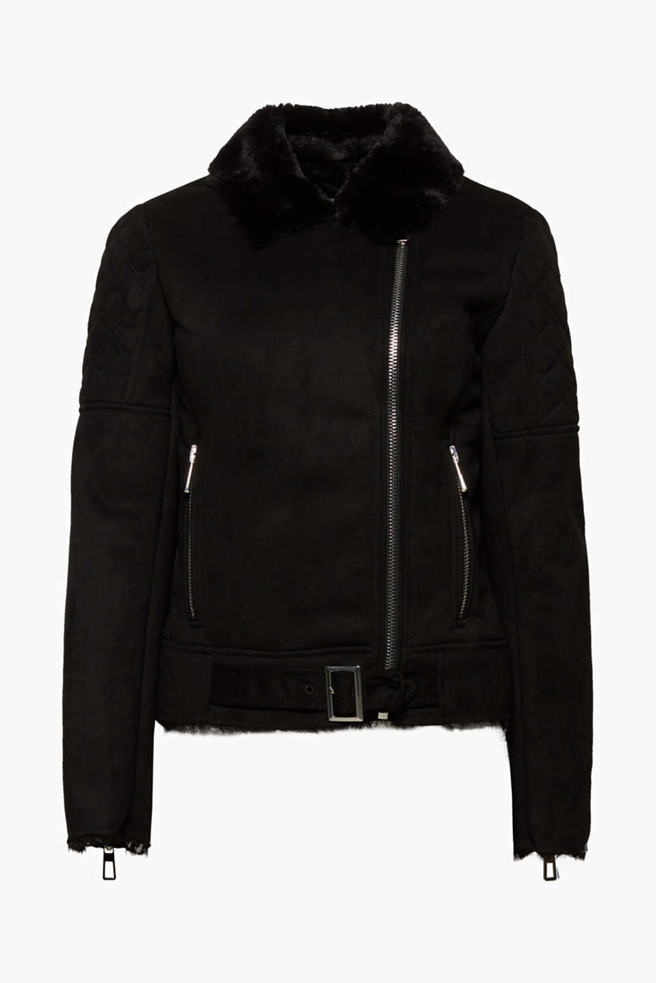 This jacket impresses with its shearling effect and striking zip details, which give the style a rock and roll flair.