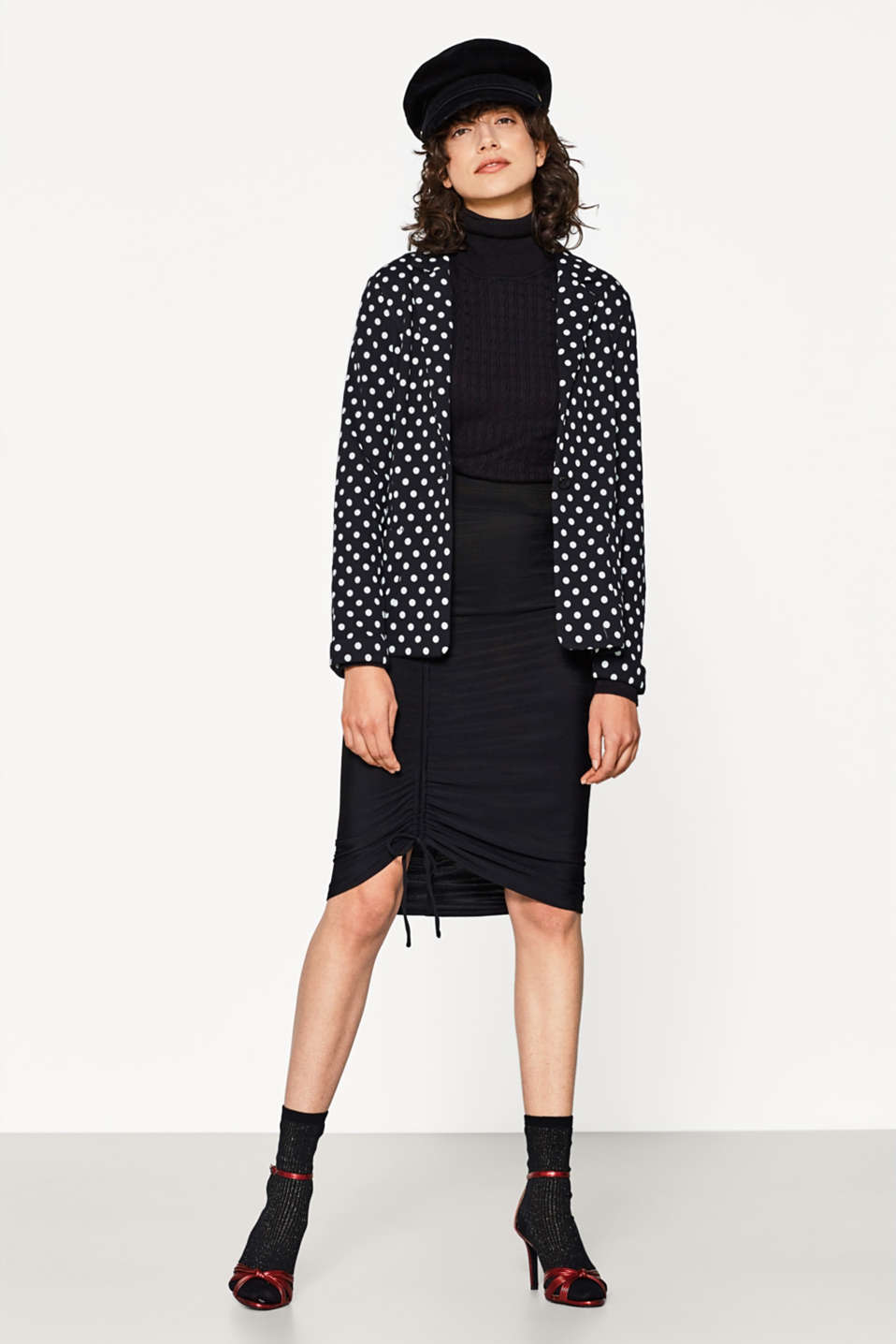 Cotton blazer with polka dots