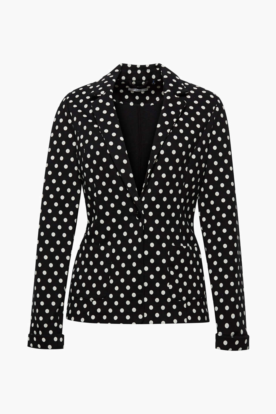 A clear victor! This soft sweatshirt fabric blazer will become a favourite companion with its fresh all-over polka dot style.