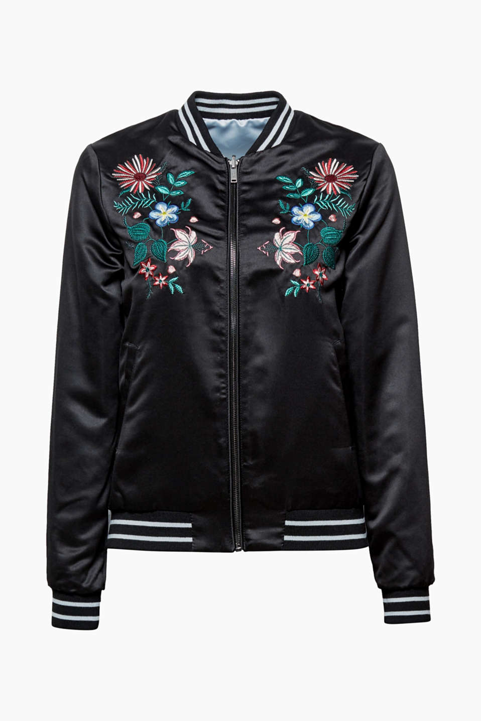 This bomber jacket made of shiny satin has two good sides – with colourful embroidery on one side!
