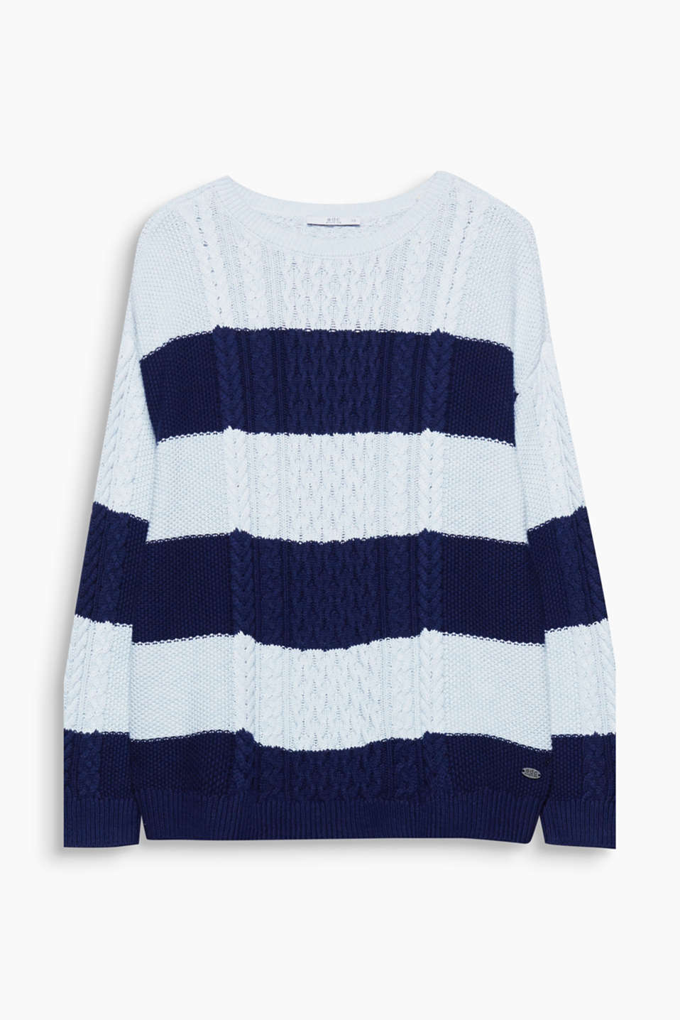 We love knitwear! A cable pattern and cool black and white look make this jumper an eye-catching piece.