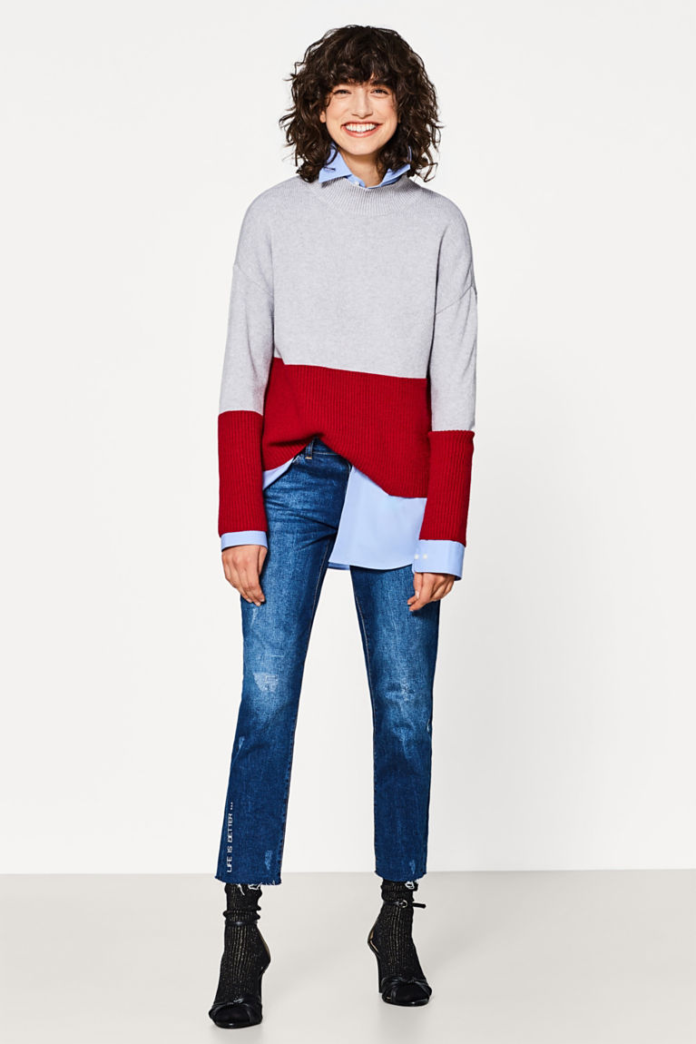 Weicher Colourblock-Pullover