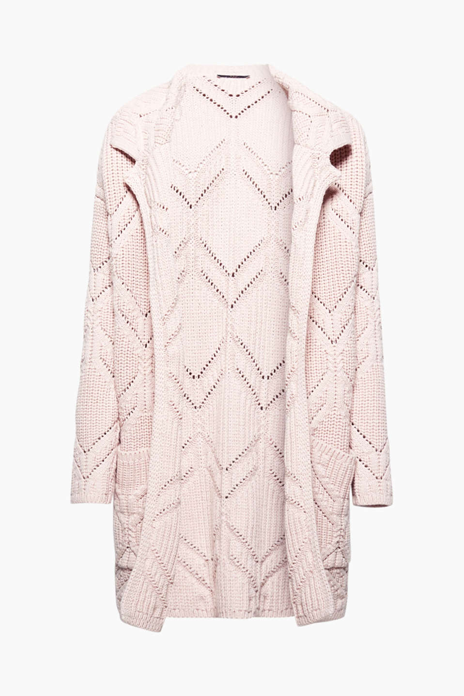 This soft, chunky knit cardigan is the perfect topper for cold winter weather with its striking cable pattern!