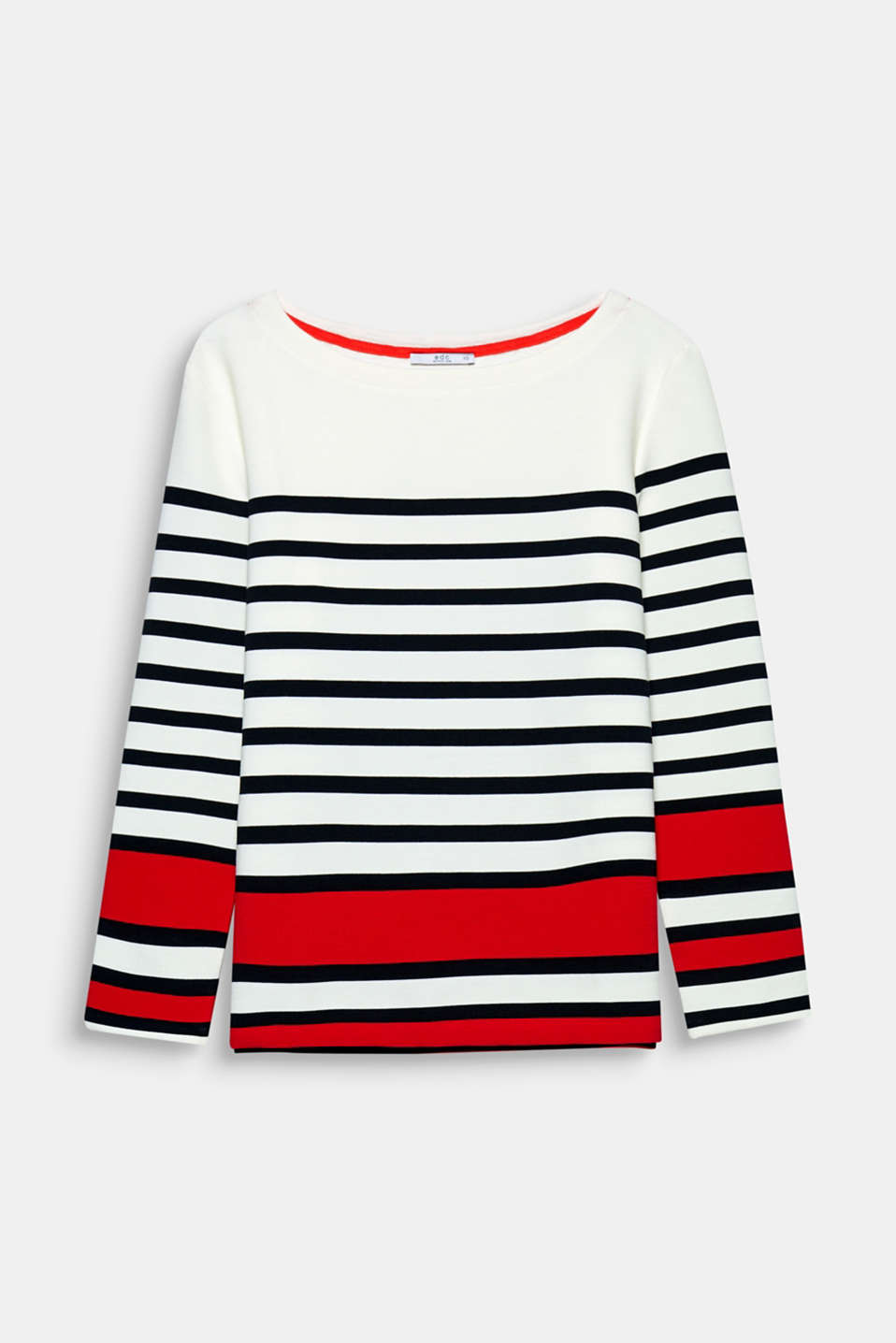 This sweatshirt with graphic stripes, a fine ribbed texture and trendy oversized design has a fresh, cool look.