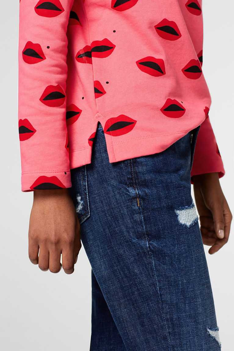 Sweatshirt mit Lippen-Print