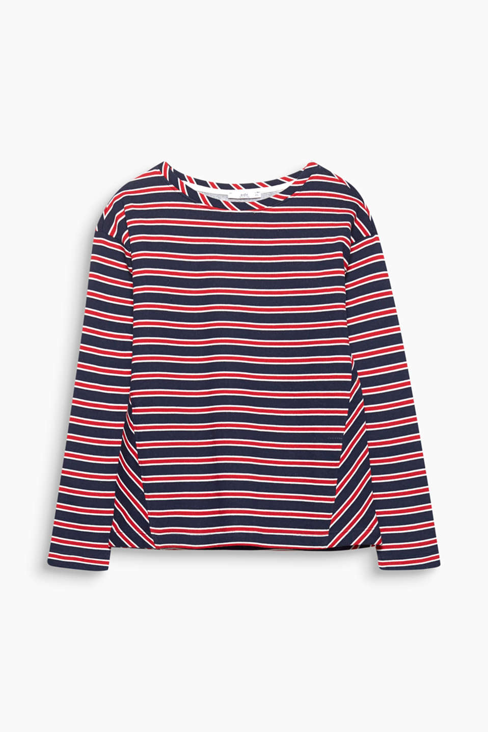 The fashionable A-line design and diagonal side seams give this nautical striped sweatshirt a brand new look!