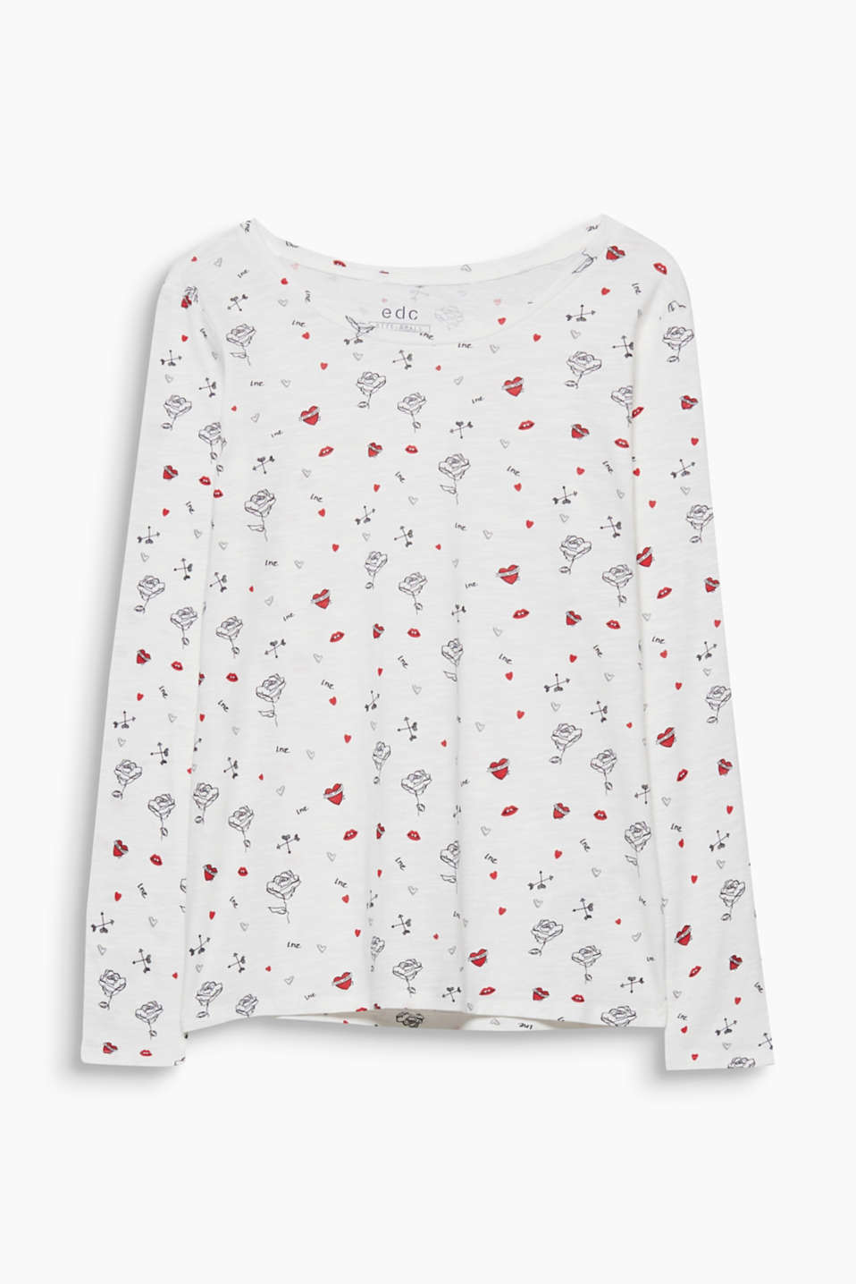 Love is in the air! With its all-over print, this long sleeve cotton top is completely under the banner of love.