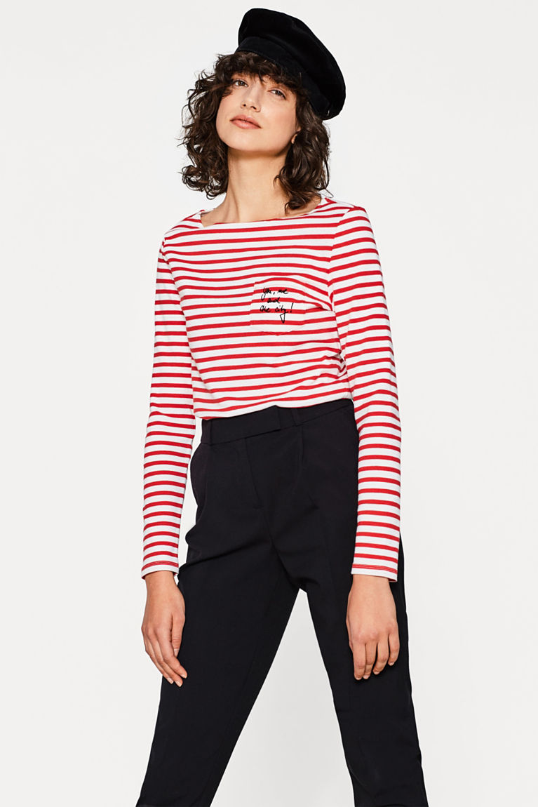 Gestreiftes Baumwoll-Stretch-Shirt