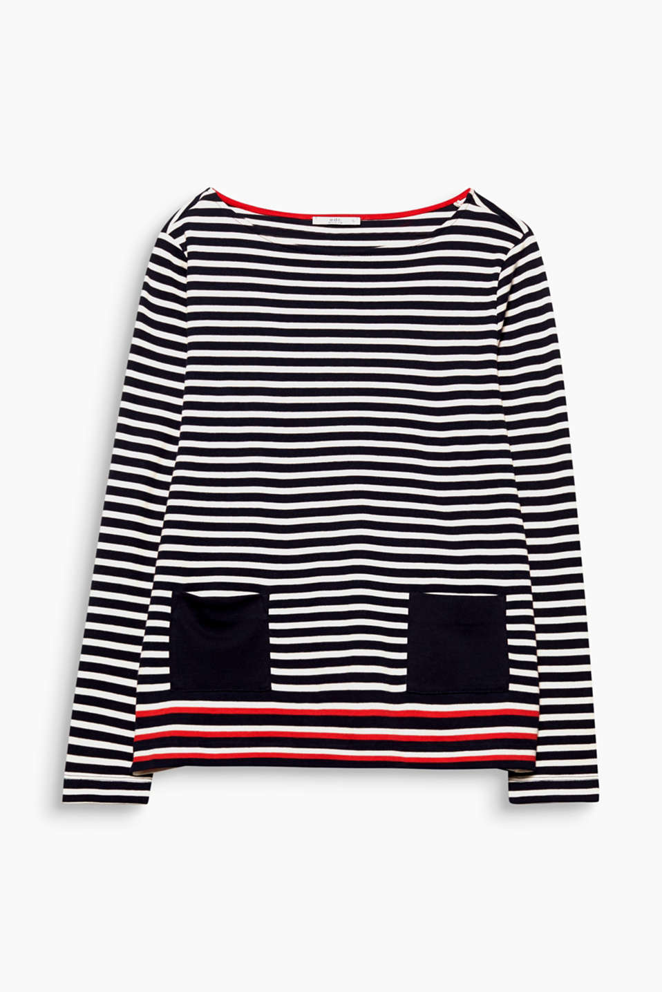 Super soft with trendy stripes: This long sleeve top in a stylish A-line design with front pockets is all about contrasts!