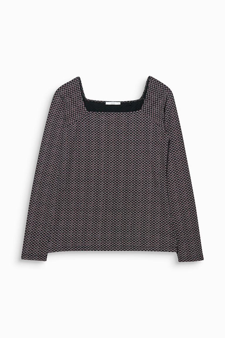 Stretch-Shirt mit Karrée-Ausschnitt