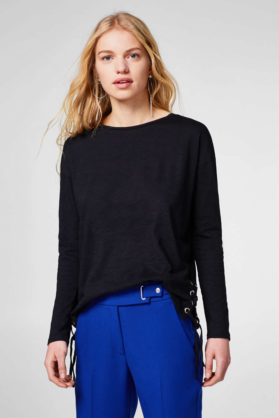 edc - Long sleeve slub top, 100% cotton