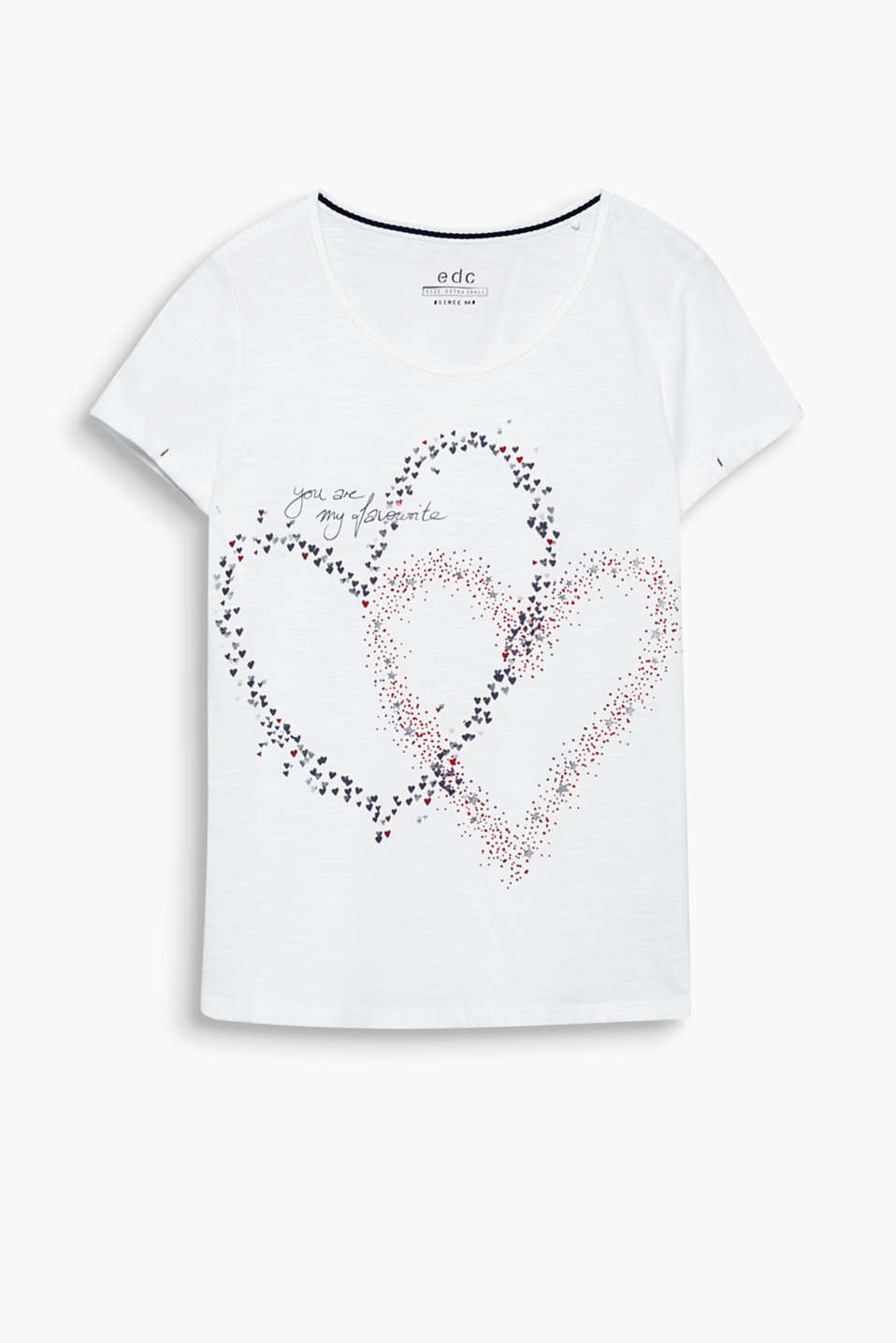 This top is extremely adorable, and not just for Valentines Day, in slub jersey with different printed hearts!