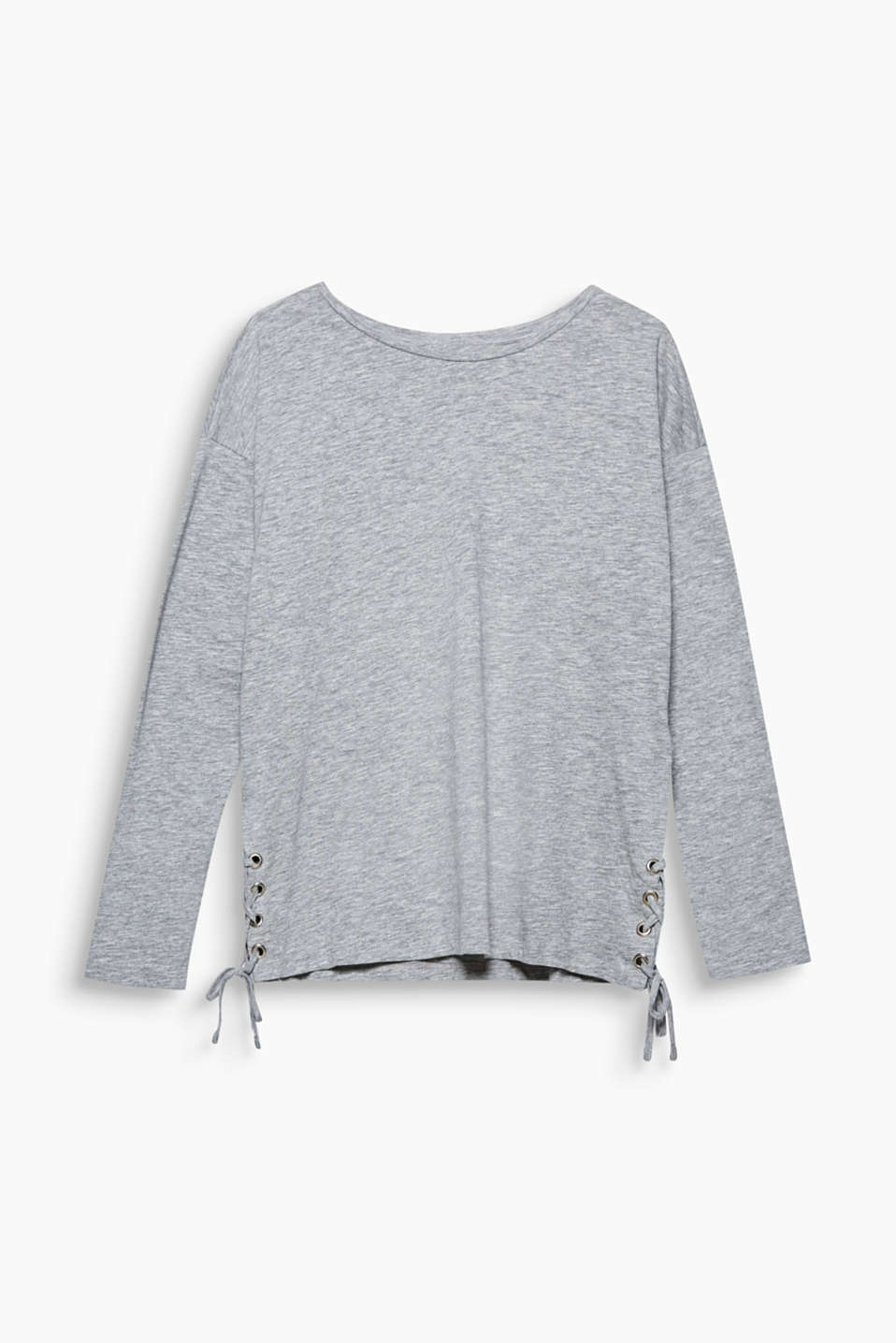 This casual long sleeve top in soft melange jersey features eye-catching lacing effects on the sides.