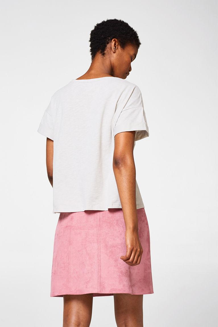 Boxy Baumwoll-Shirt mit Print